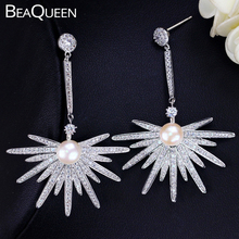 BeaQueen Elegant Big Star Shape Micro Pave Cubic Zirconia Long Dangle Drop Pearl Earrings for Wedding Statement Jewelry E206 gulicx zircons elegant drop aaa cubic zirconia long big crystal bridal earring for wedding jewelry