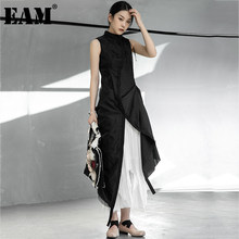 EAM – robe noire en maille irrégulière plissée, Slim, fendue irrégulière, sans manches, revers, coupe ample, mode printemps été 2021 1DD7728