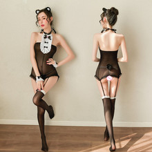 Bear Cosplay Transparent Underwear Maid-Uniform Bodystocking Sexy Cat Girl Garter Throught