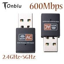 سائق حر USB واي فاي محول 600Mbps واي فاي محول 5 GHz هوائي USB إيثرنت الكمبيوتر واي فاي محول Lan واي فاي دونغل التيار المتناوب جهاز استقبال واي فاي