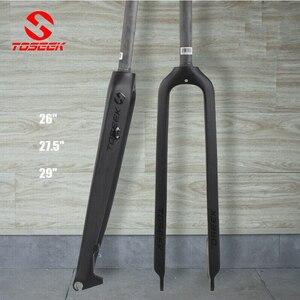 Велосипедная вилка TOSEEK 1-1/8 дюйма, углеродная вилка для горного велосипеда, жесткий прямой дисковый тормоз, суперлегкая Велосипедная вилка 26...