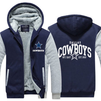 Cowboys Hooded Thick Zipper Jackets and Coats