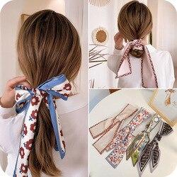 Doce lenço de seda acessórios para o cabelo feminino amarrado arco nó headdress longo streamer rabo de cavalo titular feminino temperamento corda de cabelo