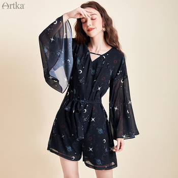 ARTKA 2020 Spring Summer New Women Bodysuit Fashion Print Loose Chiffon Playsuits V-Neck Flare Sleeve Jumpsuit Women KA25003C artka 2020 spring summer new women bodysuit fashion print loose chiffon playsuits v neck flare sleeve jumpsuit women ka25003c