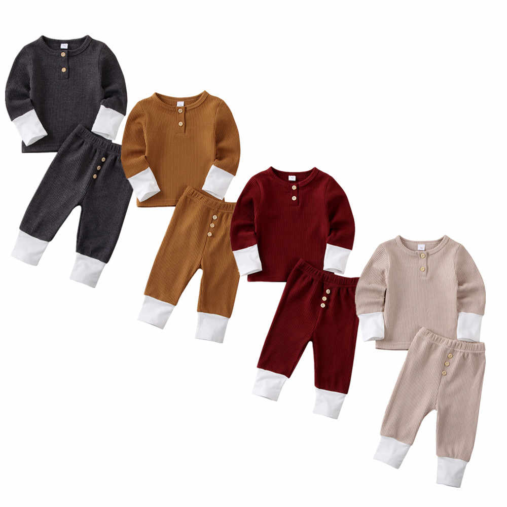 New Toddler Baby Girl Boy Clothes Knitted Tops T-Shirt Leggings Pants Outfits Set