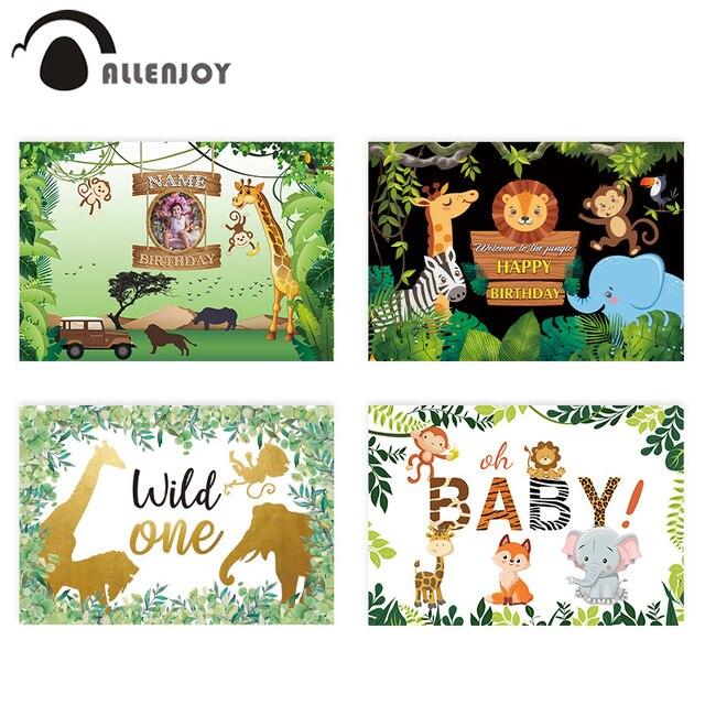 Allenjoy Safari compleanno sfondo selvaggio One Jungle Animal Party Dessert tavolo decorazione sfondo fotografia Photocall Banner