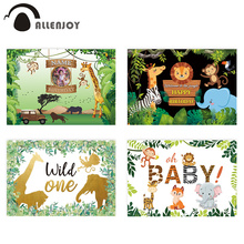Allenjoy jungle Fondo de fotografía de cumpleaños, mesa de postre de fiesta con animales, decoración de fondo, estudio fotográfico Wild one