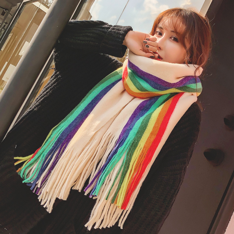 Fall/winter New Rainbow Color Double-sided Striped Cashmere Scarf Female Korean Version Of Joker Thickened Warm Scarf Shawl