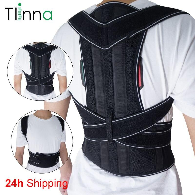 Tlinna ayarlanabilir sırt omurga duruş düzeltici yetişkin kambur ağrı arka destek braketi omuz kemeri postür düzeltme
