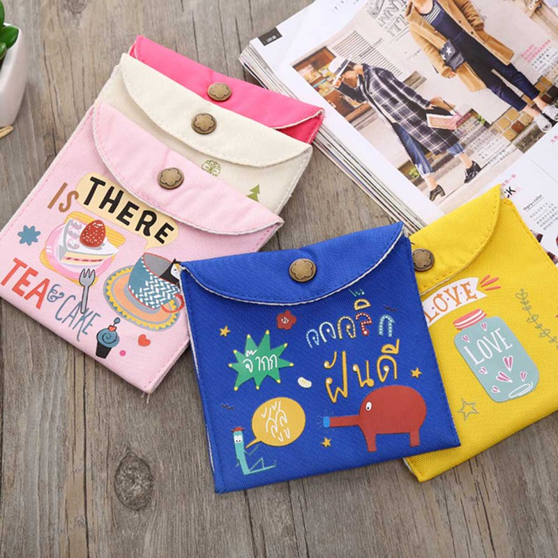 Pouch Storage-Holder Diaper-Fabric Sundries-Case Sanitary-Pad Bags Towel-Girl Convenience