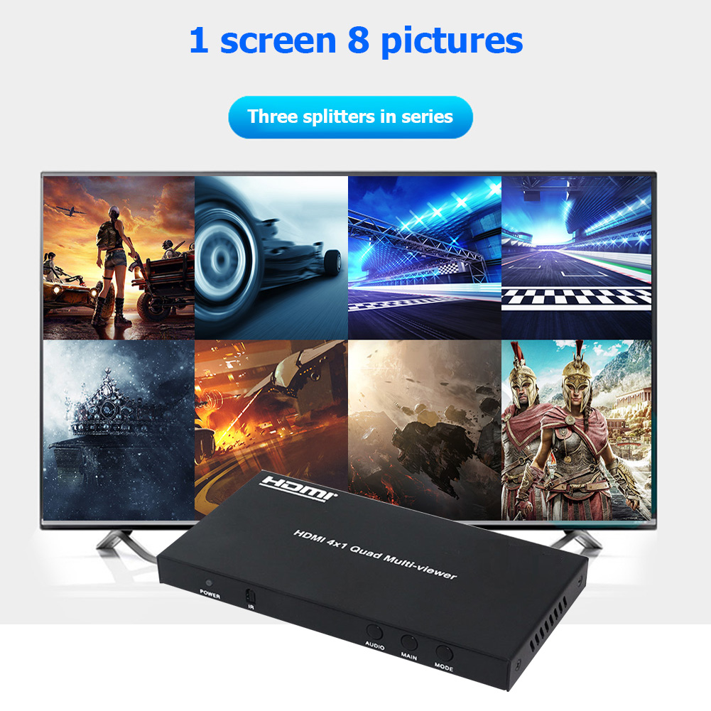 IR Remote Control HDMI Switcher 1080p HDMI 4x1 Multi Viewer Plug Play Convenient Quick Operate Seamless Switch
