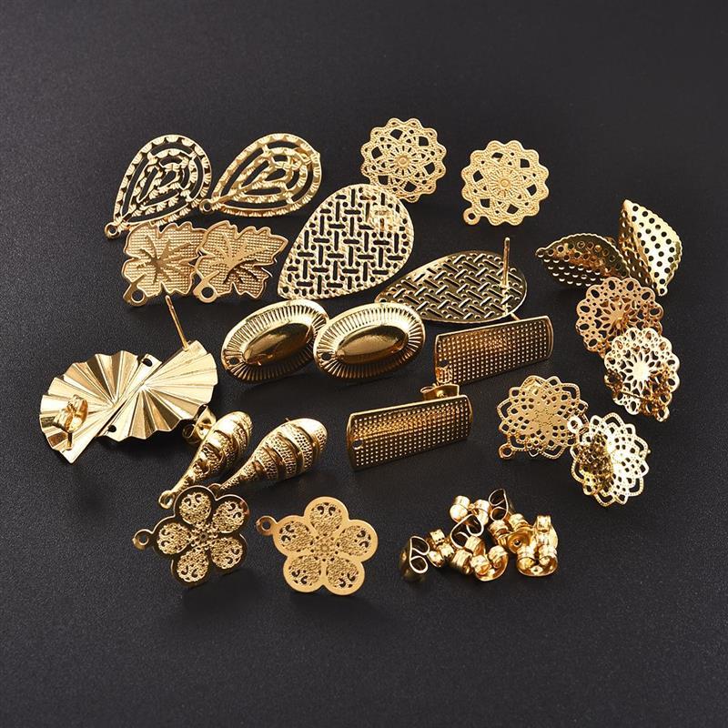 10 шт., круглые геометрические серьги-гвоздики из нержавеющей стали, серьги с золотыми полыми цветами, базовые соединители, аксессуары для са...