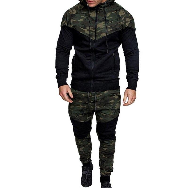 Mens Camouflage Jacket Sporting Suit Autumn Jacket+Pants Casual Men Track Sweatpants MenTracksuit Pants Sportwear Clothing Sets