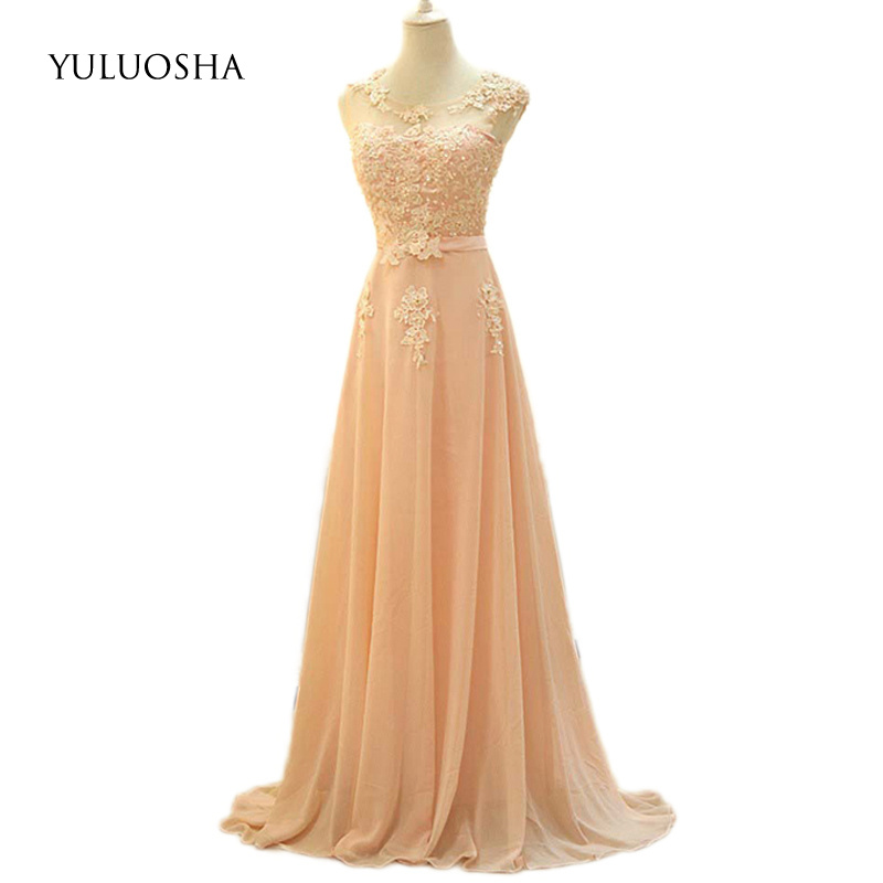 YULUOSHA 2020 New Sexy O-Neck Sleeveless Lace Applique Long Slim Evening Dresses Party Prom Formal Gowns Vestidos Robe De Soiree
