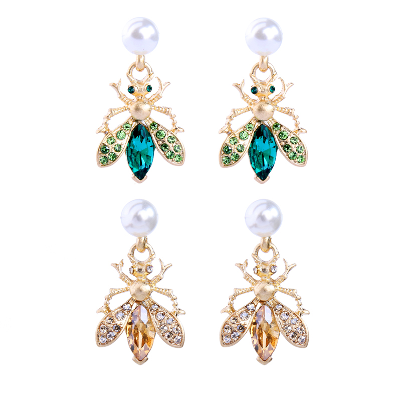 Bohemia Handmade Crystal 2 Color Insect Drop Earring For Women Wholesale Jewelry Free Shipping