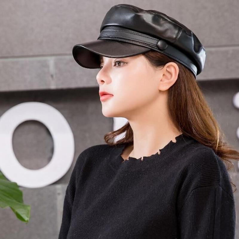 Fashion Unisex PU Leather Military caps Spring Autumn Sailor Hats for Women Men Black Grey Flat Top Captain Cap Travel Cadet Hat