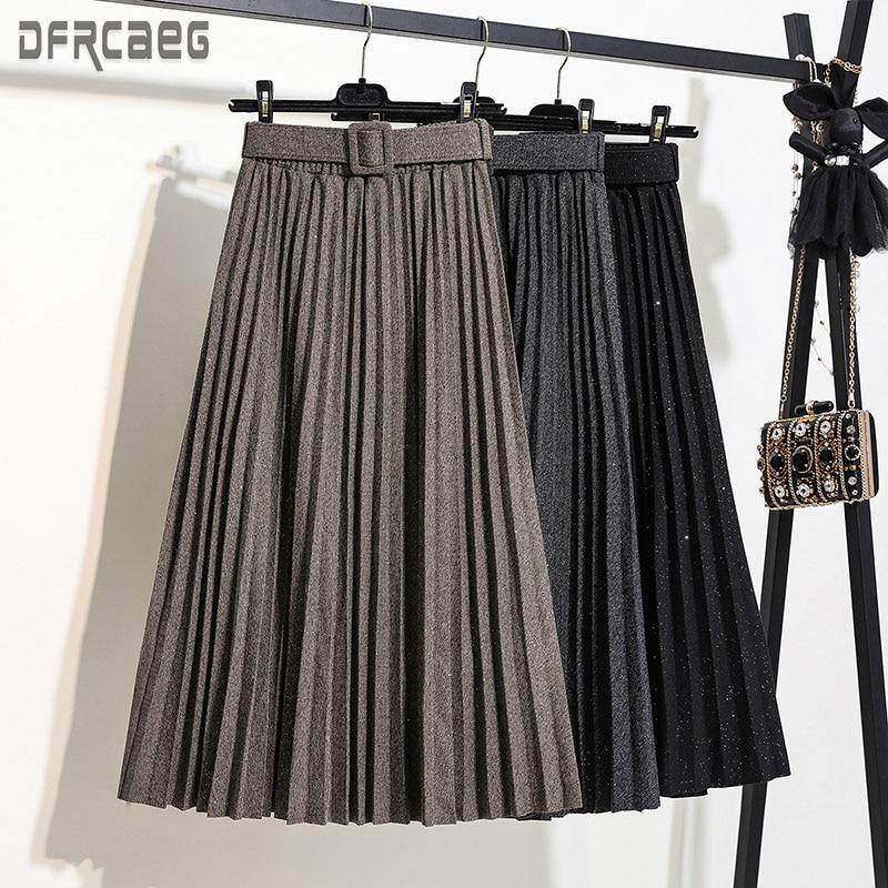 New Autumn Elastic Waist Women Long Skirt With Belt 2019 Winter Black A-Line Female Skirt Solid Pleated Skirt Korea Style Femme