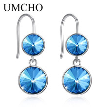 UMCHO Solid Silver 925 Prevent Allergy Simple Style Crystal Round Drop Earrings Eardrop For Women Fine Jewelry Drop Shipping cheap 925 Sterling Engagement ZEUJ134S-1 Other Artificial material P1712009225 Classic Wedding Engagement Anniversary Party