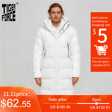 Winter Jacket Overcoat Tiger-Force Male White Windproof Zipper Black Men Long Warm Puffy