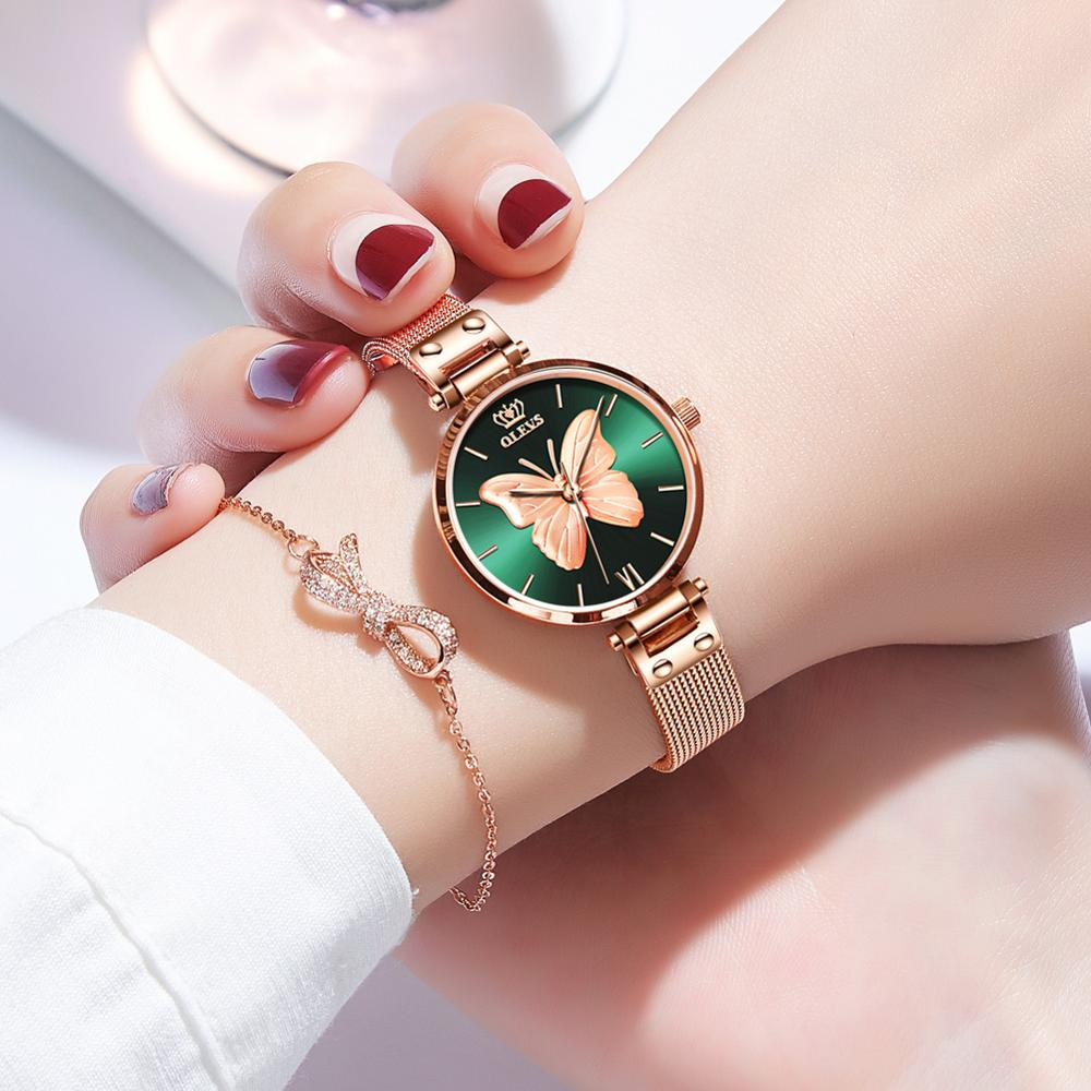 OLEVS Watches Women Luxury Butterfly Bracelet Rose Gold Mesh Quartz Clock Waterproof Genuine Leather Wrist Watch Casual Elegant