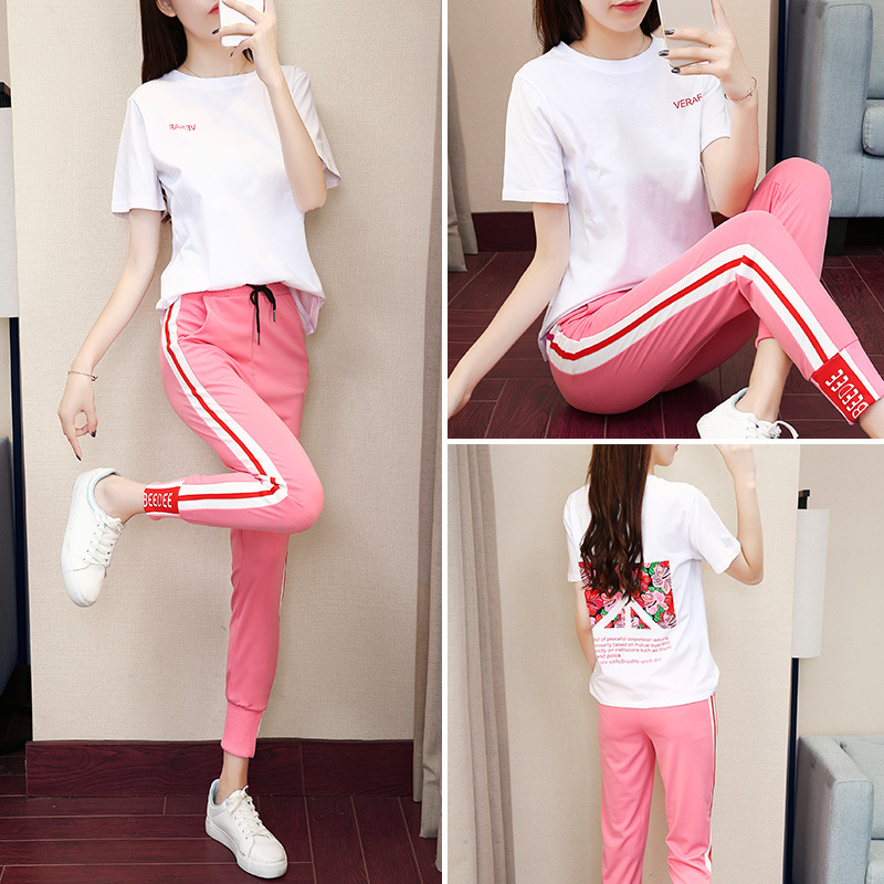 2018 Summer New Style Korean-style Short Sleeve Baggy Pants Social Women's Worry Collocation Two-Piece Set WOMEN'S Dress