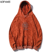 ICPANS Hip Hop Harajuku Male Tops Letter  Vintage Fleece Winter Pullover Hoodies Men/Women Casual Hooded Streetwear Sweatshirts