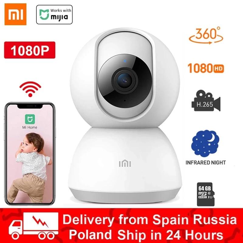 Xiaomi-cámara inteligente Mijia inalámbrica, 1080P, HD, WiFi, visión nocturna, vídeo de ángulo de 360 grados, IP, Monitor de seguridad para bebés, funciona con la aplicación MiHome