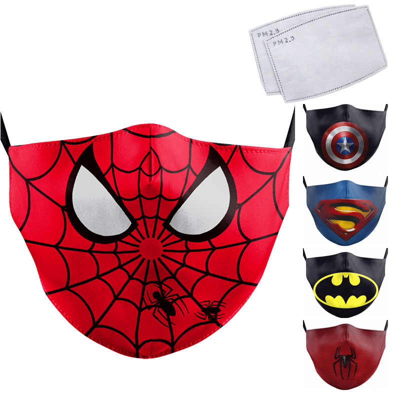 Cartoon Cute Superhero Spiderman Superman Captain America Kids Mask Print Face Masks Reusable Children Mask Fabric Dust Masks