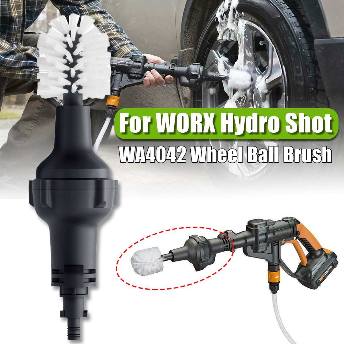 Wheel Ball Brush Accessory For WORX WA4042 Hydroshot