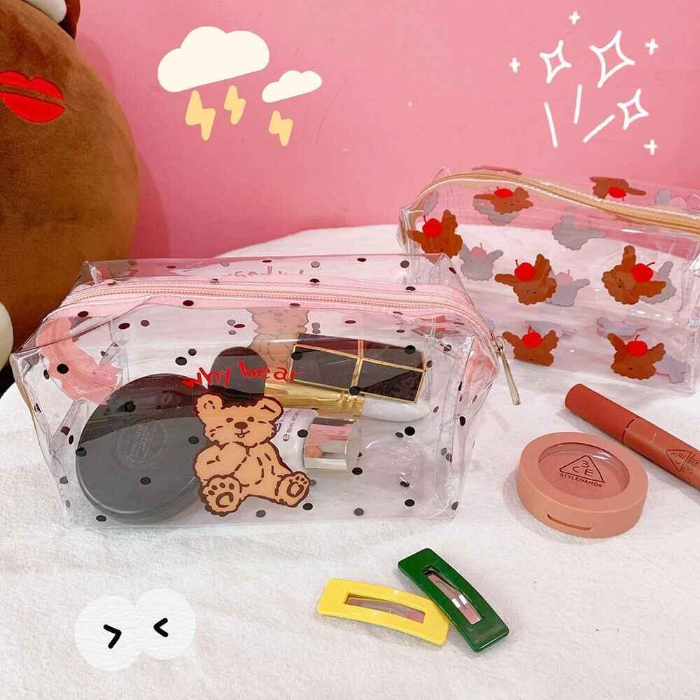 Bentoy milkjoy 韓国日本かわいいクマの笑顔化粧品ケース waterprooft transperant 洗浄バッグ女の子化粧ポーチ自宅保管ケース