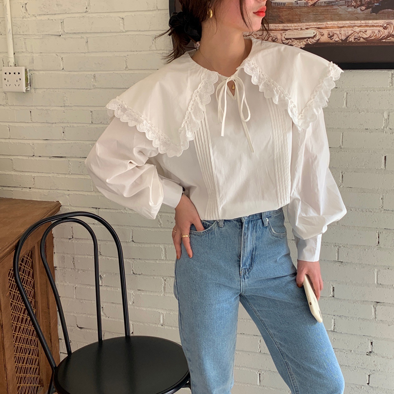 H47623eed7dc74d448508308d80b06bfay - Spring / Autumn Lace-Up Collar Long Sleeves Loose pleated Solid Blouse