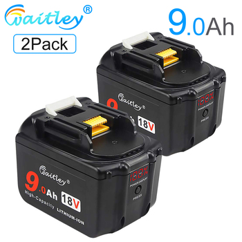 Waitley 2Pack 18V 9.0Ah Battery for Makita tool Lithium-Ion Replacement 18Volt 9000mAh 18 v 9A  BL1830 BL1840 BL1850 BL1860 3pcs 18v bl1860 li ion 6000mah replacement for makita 18v bl1840 bl1830 bl1850 rechargeable power tool battery with usb adapter