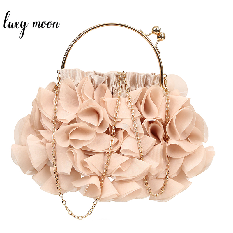 Wedding Clutch Women Evening Clutch Bag Flower Purse And Handbag Apricot Party Bag Chain Shoulder Bag Female Clutches ZD1394