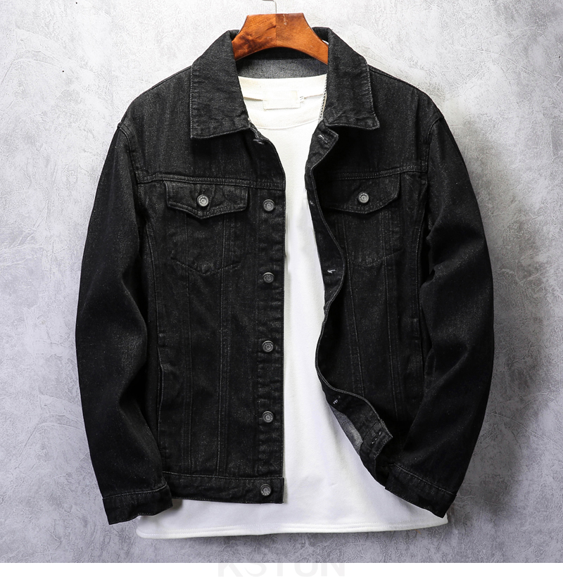 KSTUN Famous Brand Jean Jackets for Men Denim Jacket Solid Black Casual Embroidered Letters Fashion Desinger Man Classic Outwear Coats 10