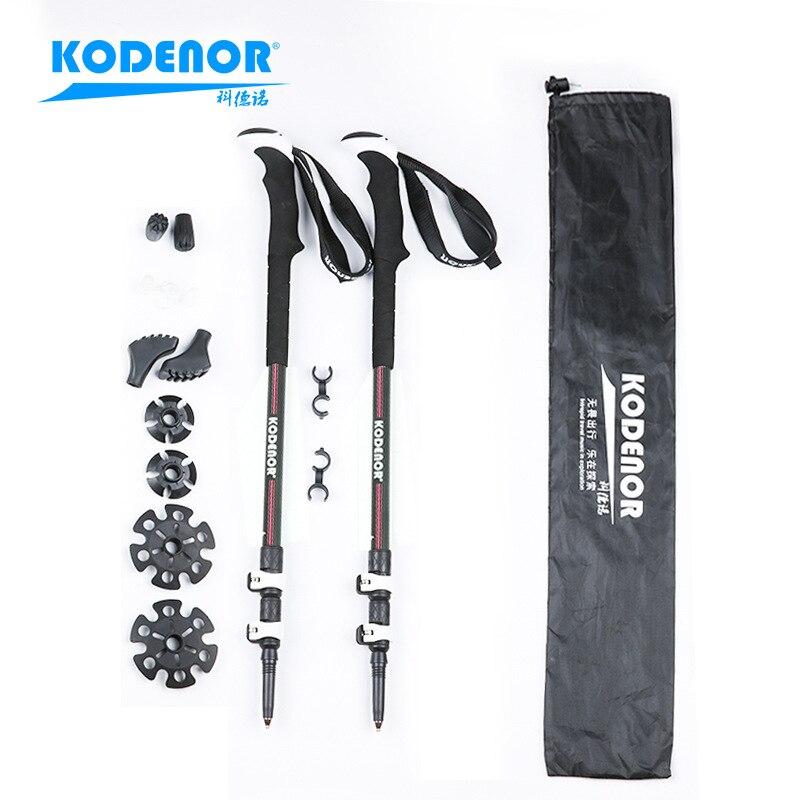 Section Denau Outdoor KDN-002 Carbon Fiber Wand Extendable Three-section External Lock Folding Walking Stick Alpenstock