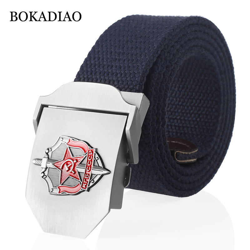BOKADIAO Men&Women Canvas Belt 3D Soviet Secret Agent KGB Metal Buckle CCCP Army Military Tactical Belts For Men Jeans Waistband