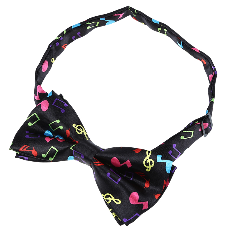 Stylish Black Bottom With Colorful Musical Note Design Bow Tie For Men