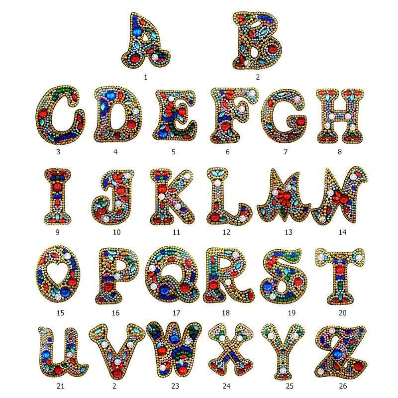 A-Z DIY المفاتيح الماس اللوحة خطابات المرأة حقيبة فتاة كيرينغ قلادة هدية خاصة على شكل الحفر الكامل التطريز عبر الابره