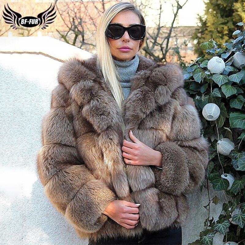 New Luxury Women Real Blue Fox Fur Coat With Hood Thick Warm Natural Pelt Fox Fur Jacket 2019 Plus Size Geunine Fur Coats Women