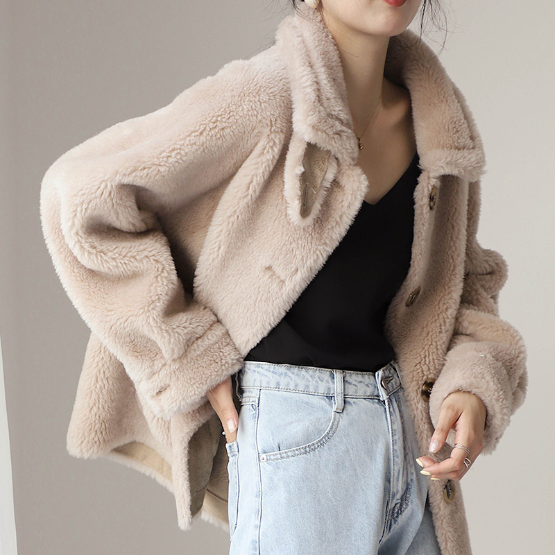 Shearling Sheep Real Fur Korean Jackets 2020 Autumn Winter Jacket Women Lamb Fur Wool Coat Female Jacket Abrigo Mujer MY