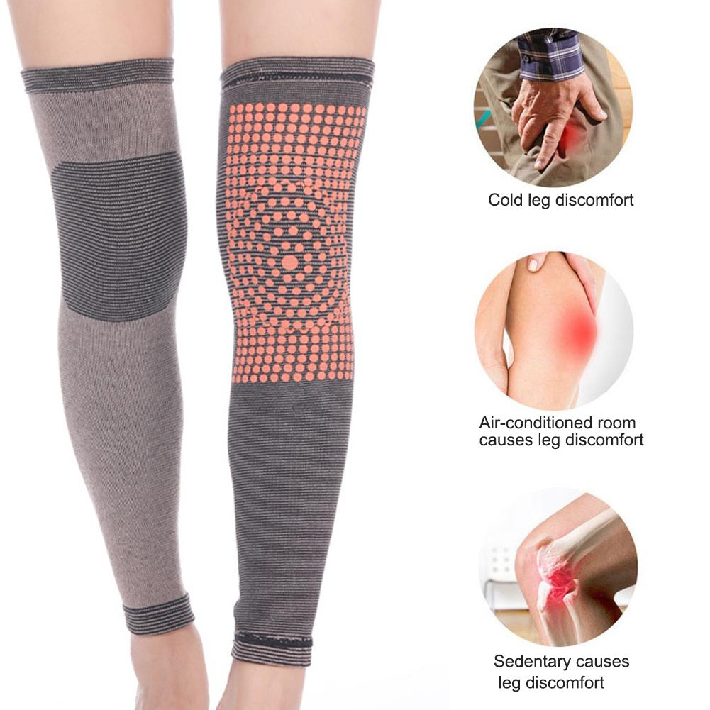 1 Pair Unisex Self Heating Support Knee Pads Long Knee Cover Brace Warm For Arthritis Joint Pain Relief And Injury Recovery 30E