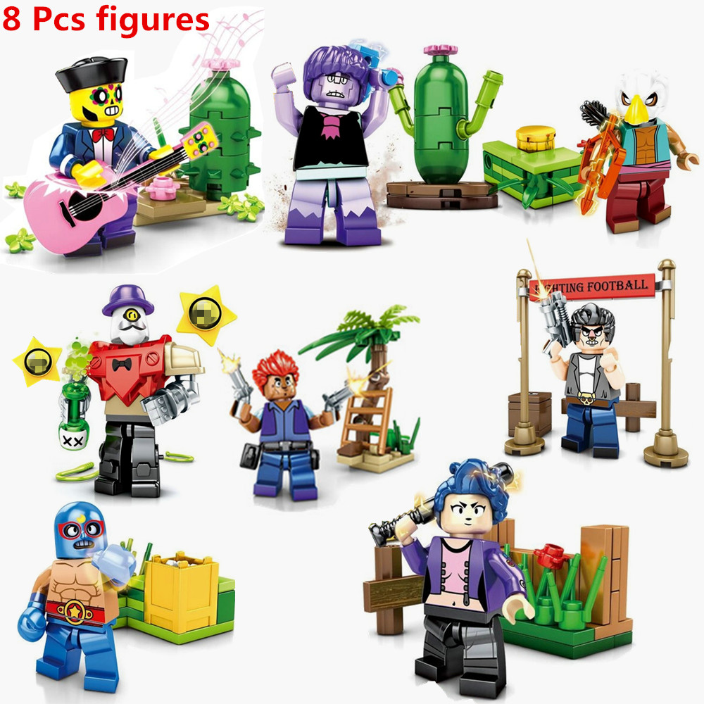 Brawl Game Cartoon Hero Figures Model Spike Shelly Leon PRIMO MORTIS Doll Kawaii Cute Toy Gift For Boy Girl Kids Compatible