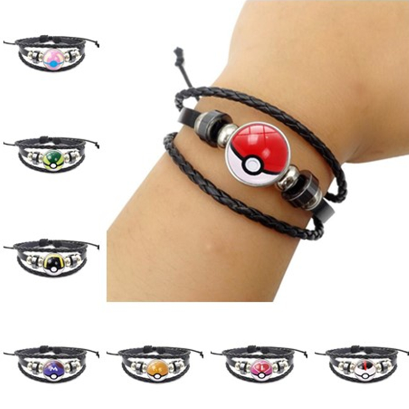Game Anime Pokemon Bracelet Cosplay Costumes Props Accessories Poke Ball Jewelry Gem Hide Rope Bracelets Fancy Gift