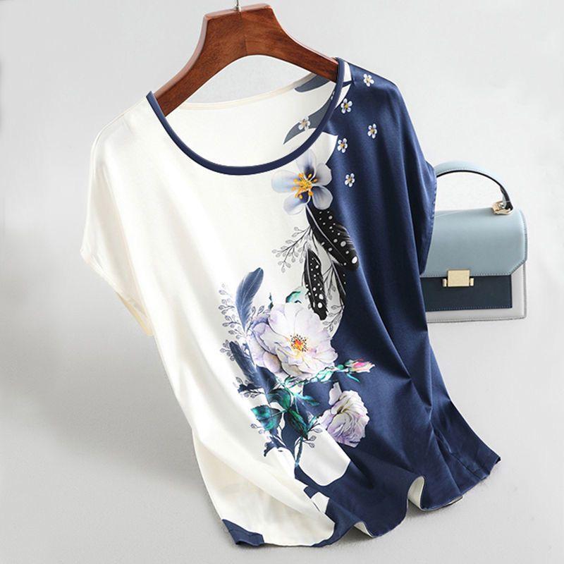 2020 New Women Silk Satin Blouses Plus size Batwing sleeve Vintage Print Floral Blouse Ladies Casual Short sleeve Tops