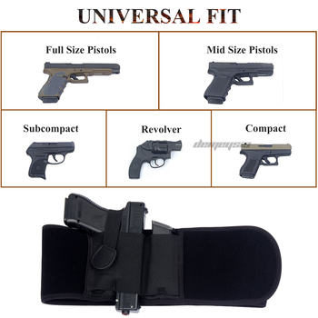Right / Left Hand Tactical Pistol Belly Band Holster Concealed Military Gun Pouch Airsoft Shooting Hunting Belt Holsters 5