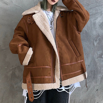 Loose  Female Cotton Padded Jacket 2020 Women Fall Fashionable Casual Style Overcoat Plus Velvet Thicken Slim Solid Color