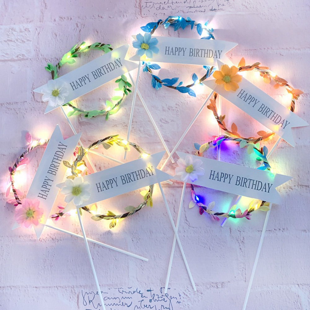 1PC LED Glowing Artificial Garland Cake Topper For Happy Birthday Party Cake Gift Decoration Daisy Flower Cake Toppers New Year