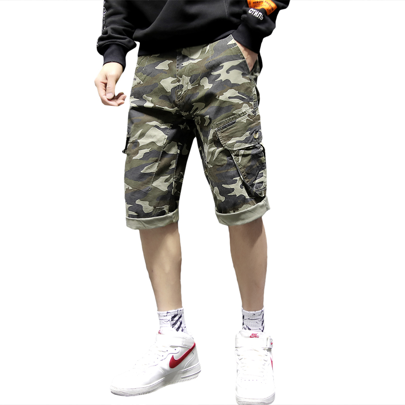 2020 Man Cargo Shorts Casual Cotton Mens Shorts Knee Length Short Pants Men Bermudas Masculina