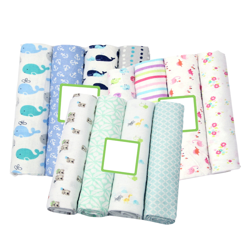 4 Pcs/pack 100% Cotton Flannel Receiving Baby Blanket Newborn Swaddle Soft Baby Muslin Diapers Wrap Muslin Swaddle 76*76 CM