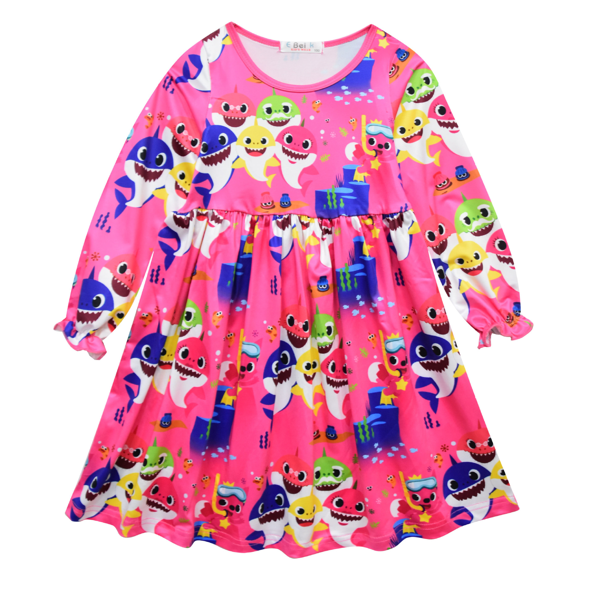2019 Kids Girls Dress Baby Shark Clothes Toddler Girl Long Sleeve Dress Children Birthday Outfits Vestido Princess Dress